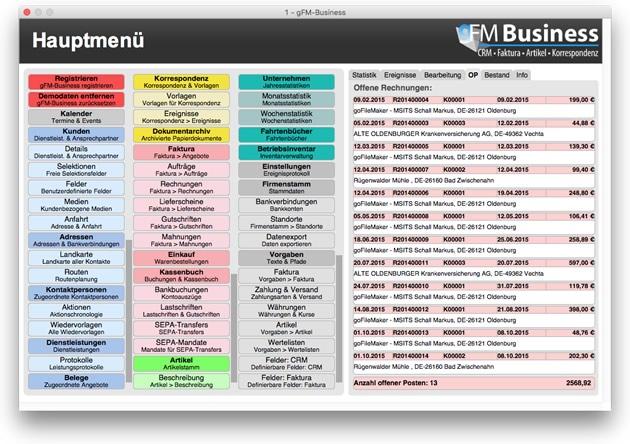 Liste offener Rechnungen im Hauptmenü