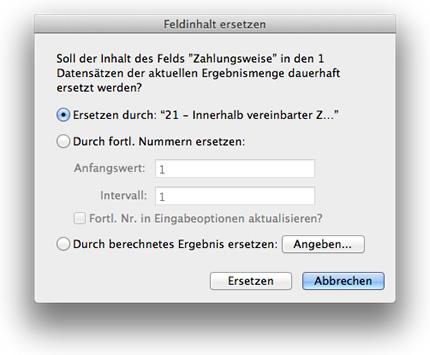 Dialogbox für Funktion [Feldinhalt ersetzen]