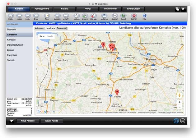 CRM: Landkarte aller aufgerufenen Kontakte