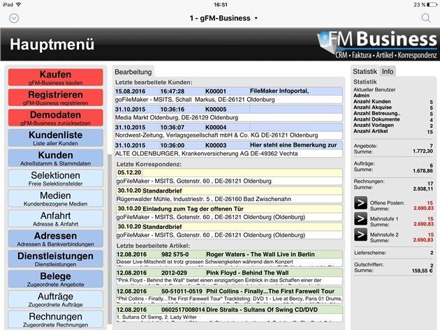 gFM-Business Hauptmenü auf dem Apple iPad