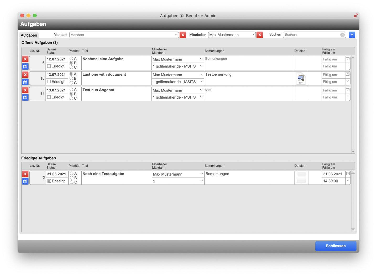 Aufgabenfenster zur systemweiten Anzeige von Aufgaben