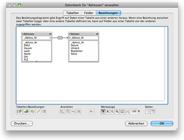 Beziehungsgraph der FileMaker Einführungslösung