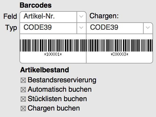 Chargen-Nummern mit Barcodes