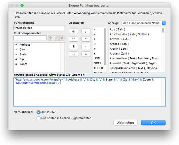 FileMaker Custom Function bearbeiten