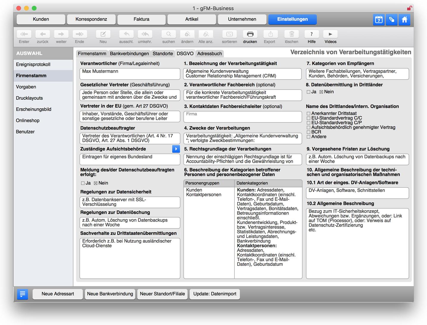 DSGVO: Verzeichnis von Verarbeitungstätigkeiten