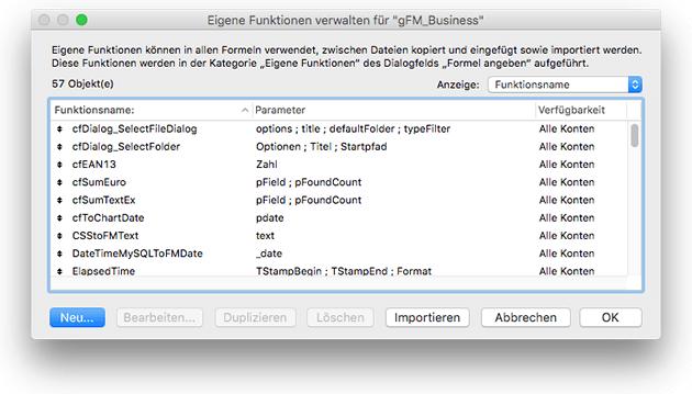 Dialog zur Erstellung und Bearbeitung von FileMaker Custom Functions