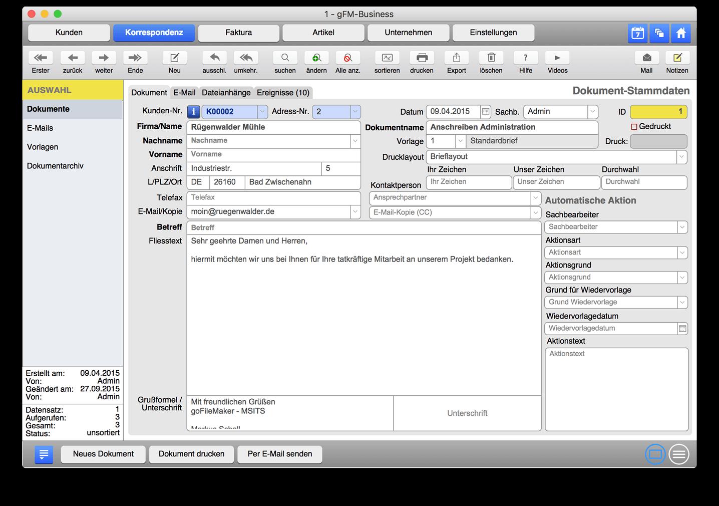 Dokumentmanagement - E-Mails und Korrespondenz