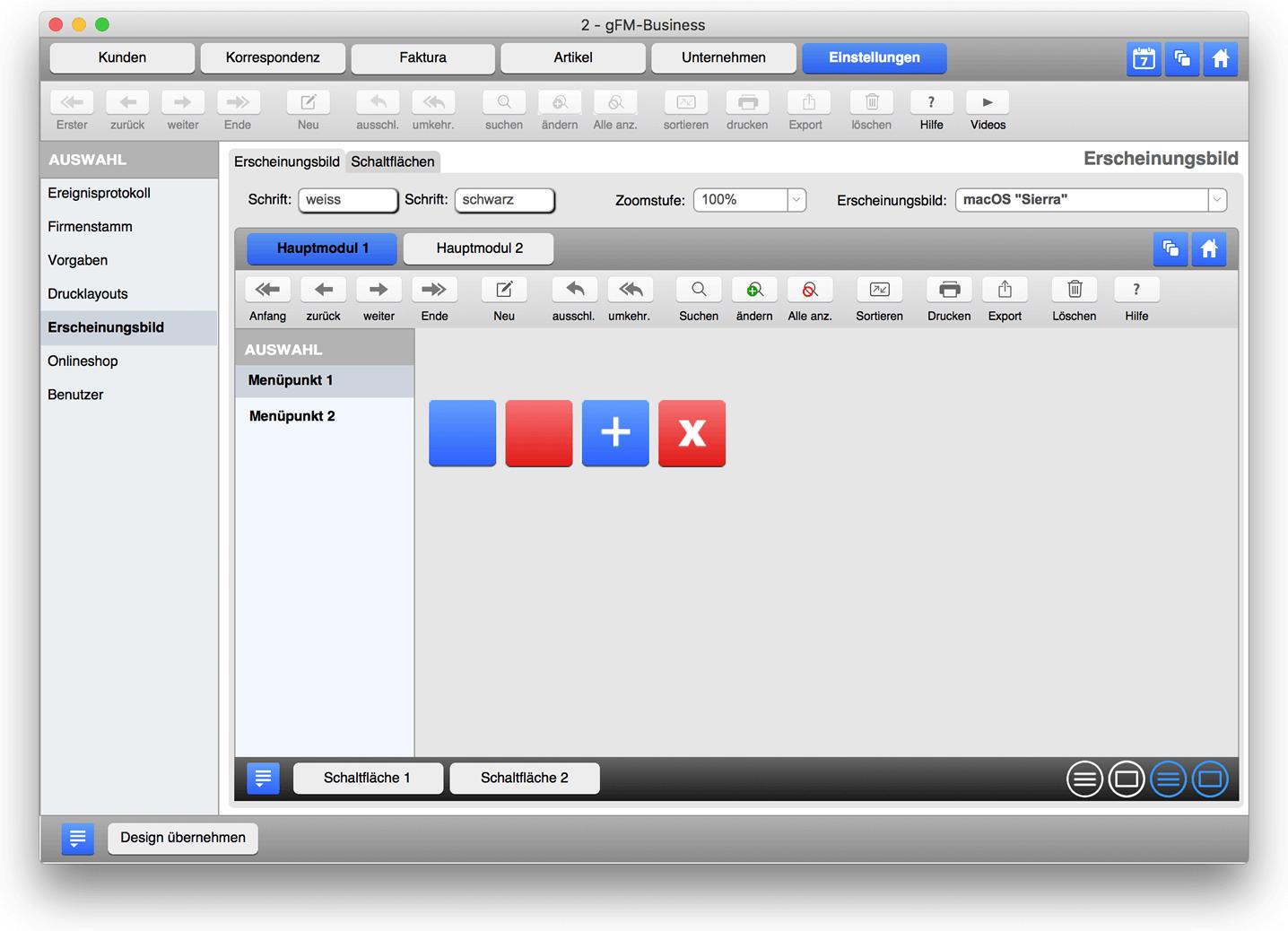 Design im Look von macOS Sierra