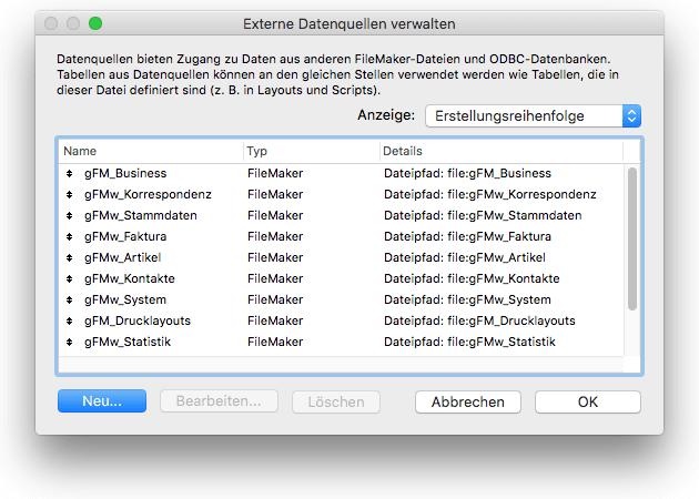 Externe Datenquellen in FileMaker einrichten