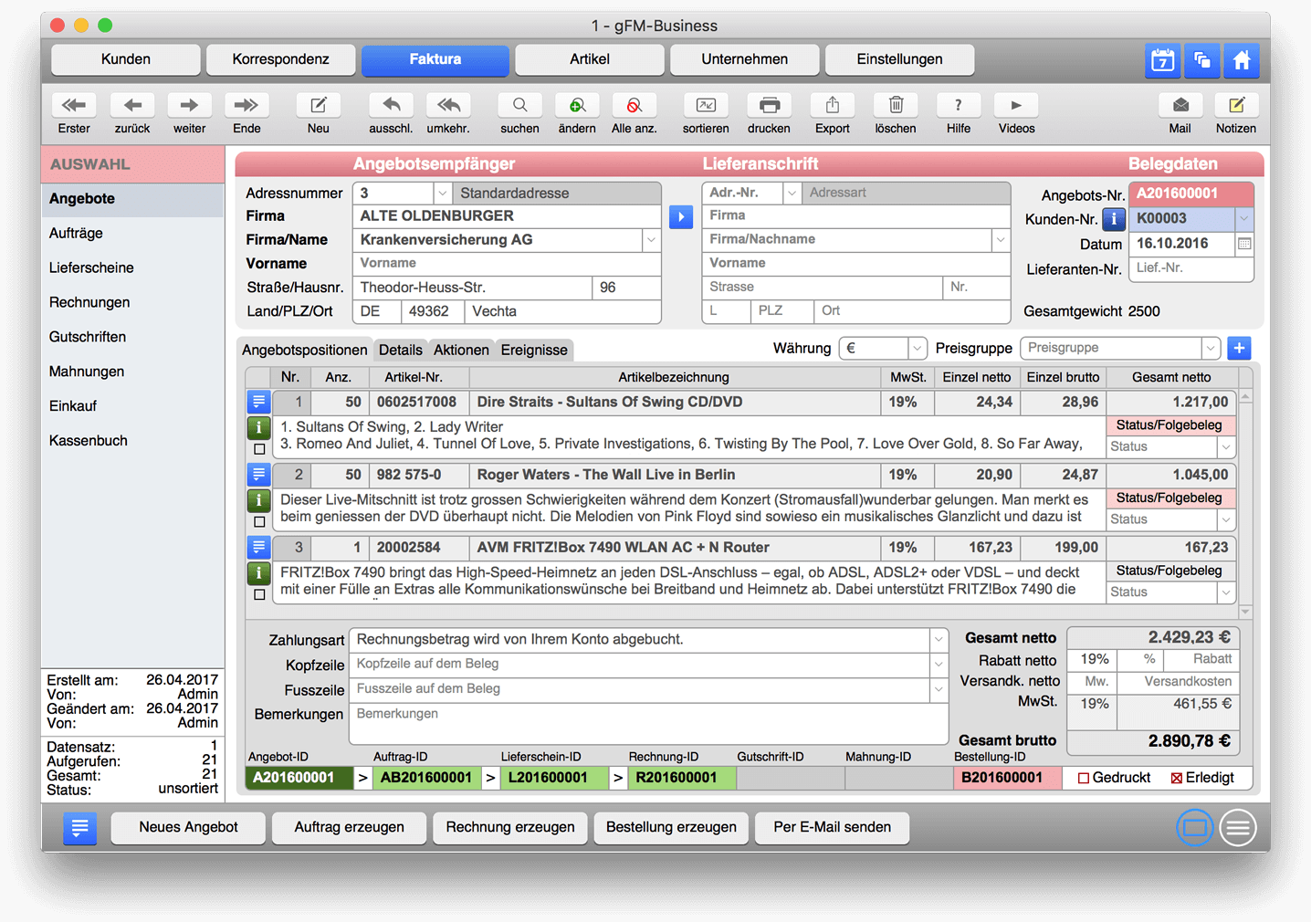 Erp Software Mit Crm Faktura Und Warenwirtschaft Für Mac Pc Und Ipad