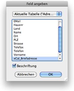 Feld <<xCal_Briefadresse>> auswählen