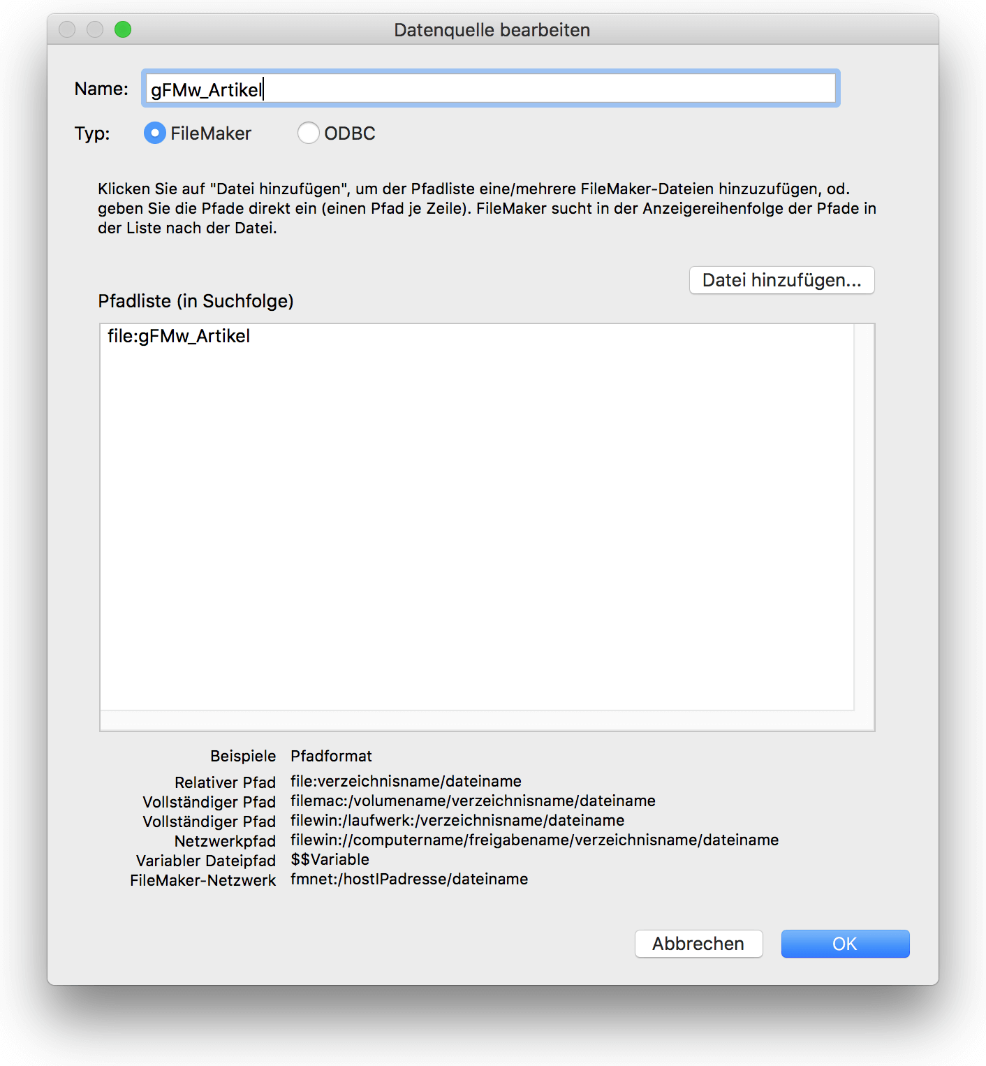 Externe Datenquelle in FileMaker anlegen