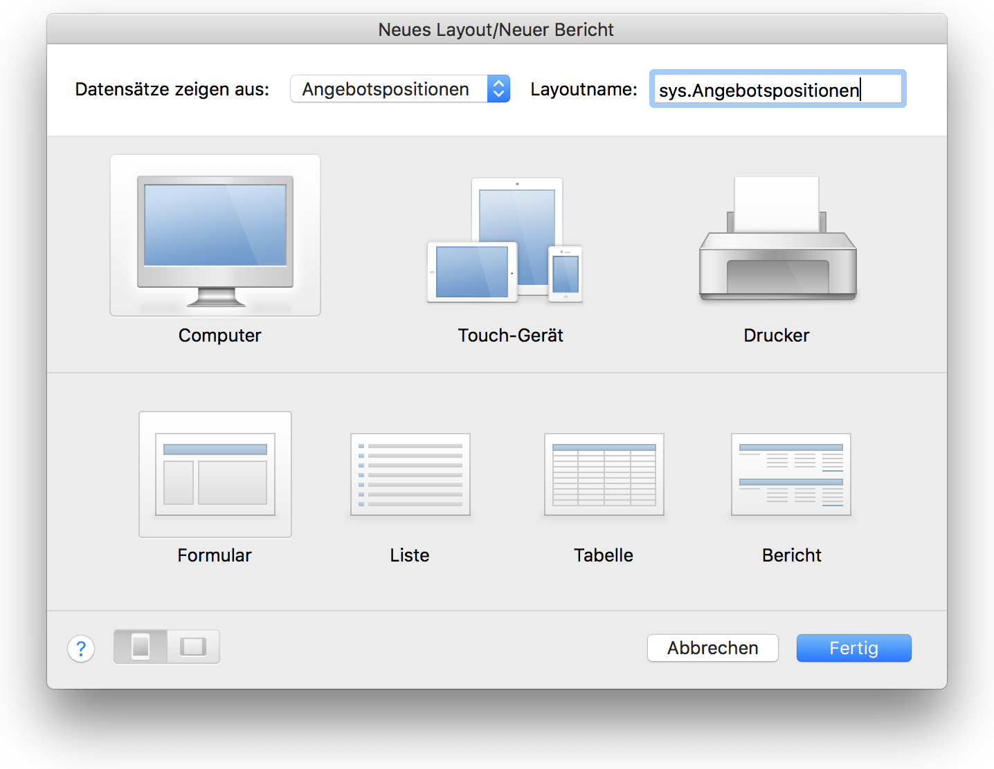 Neues Layout in FileMaker erstellen
