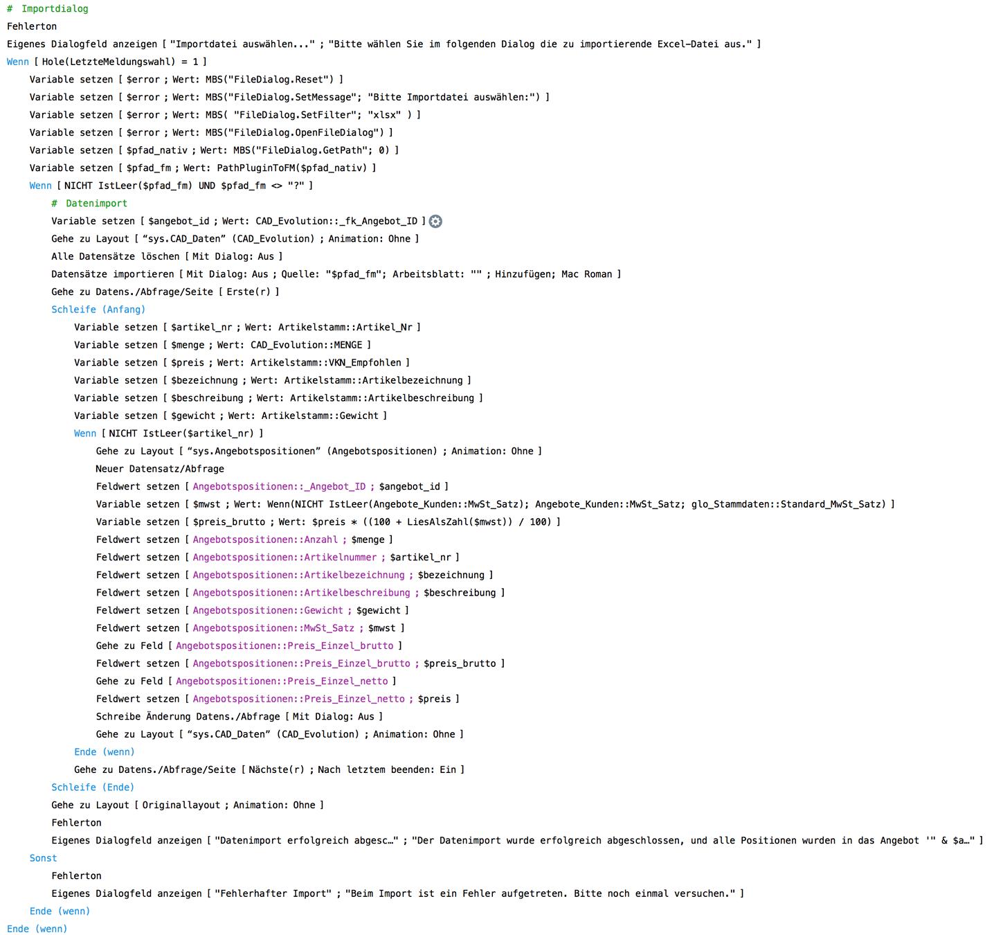 Script zum Datenimport