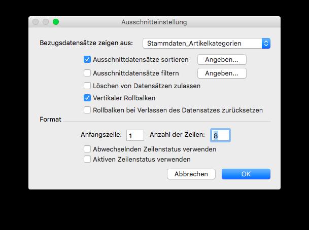 Ausschnitteinstellung in FileMaker