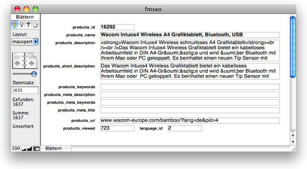Layout der FileMaker-Datenbank