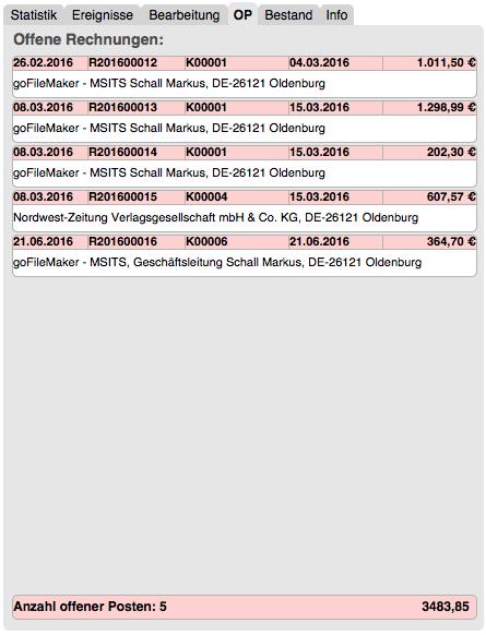 Offene-Posten-Liste im Hauptmenü