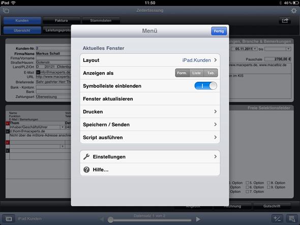 Menü von FileMaker Go für das iPad mit Einstellungen