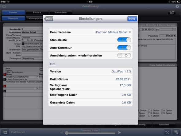 Einstellungen von FileMaker Go für das iPad