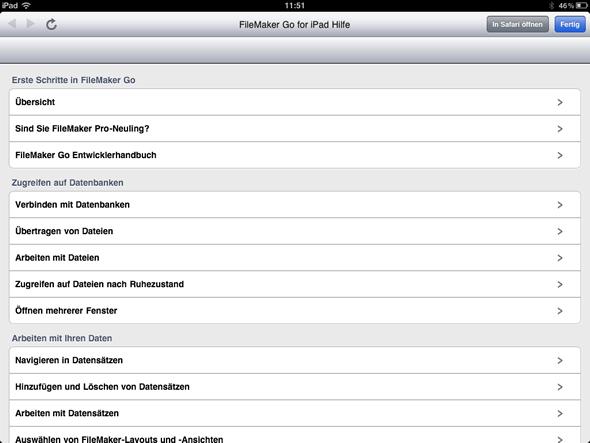Benutzerhilfe von FileMaker Go für das iPad