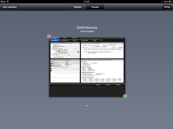 Übersicht geöffneter FileMaker-Datenbanken in FileMaker Go