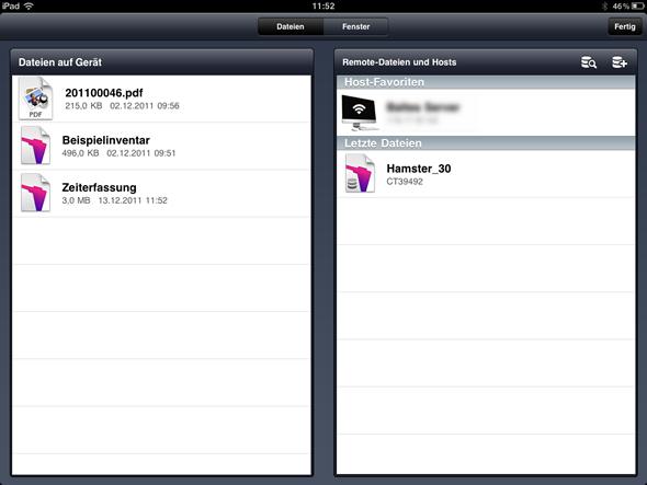 Startbildschirm von FileMaker Go für das iPad
