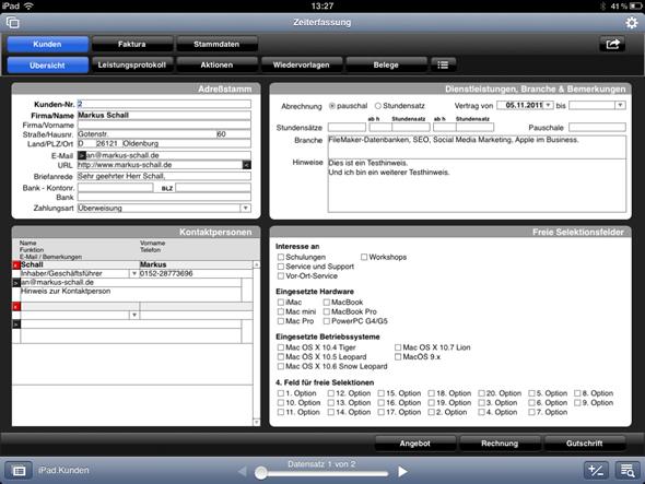 FileMaker-Datenbank mit optimierten Bildschirmlayouts auf dem iPad