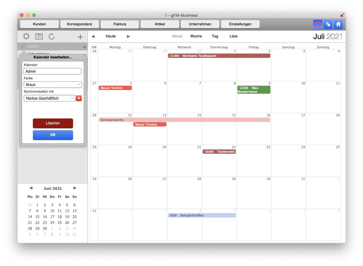 Kalender-Einstellungen