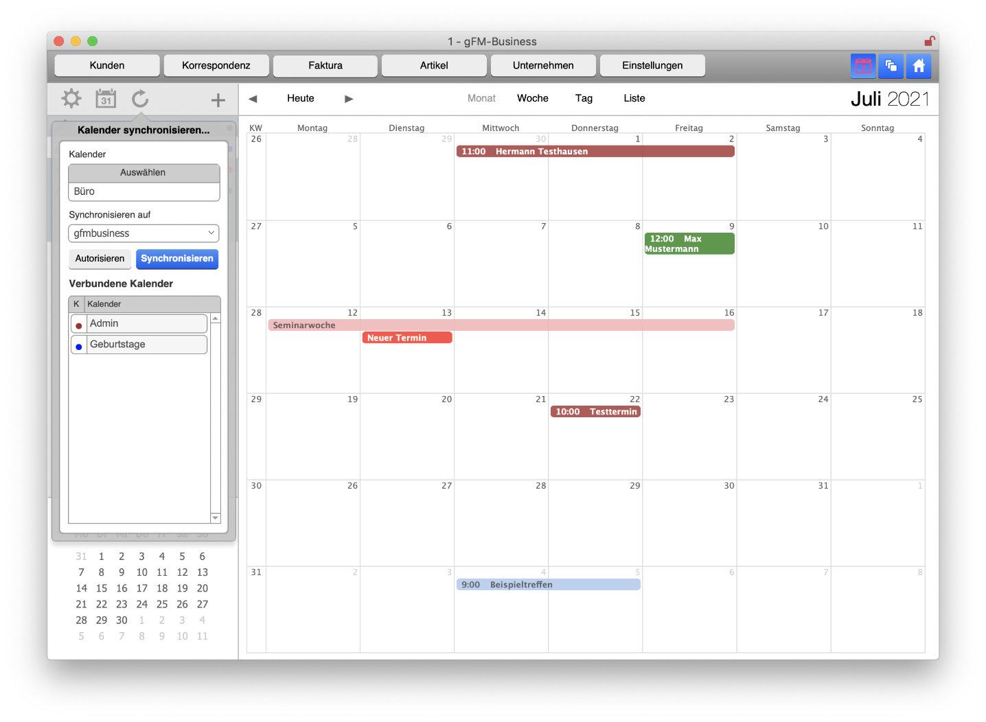 Termine synchronisieren im Kalendermodul