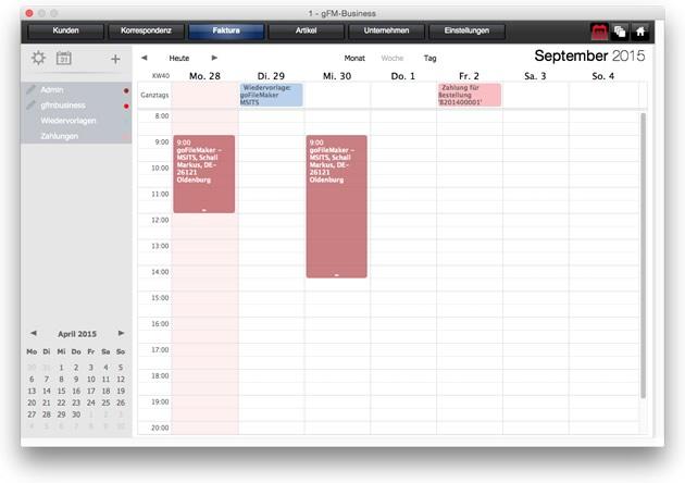Erweiterte Kalenderfunktionen