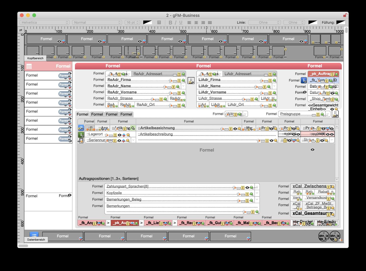 Intern optimierte Benutzeroberfläche