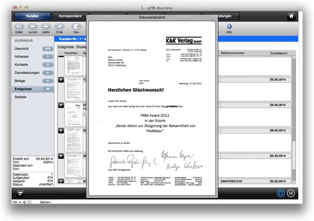 Liste archivierter Dokumente