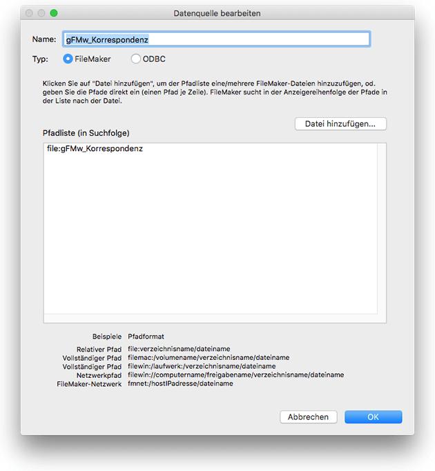 FileMaker Datenquelle hinzufügen