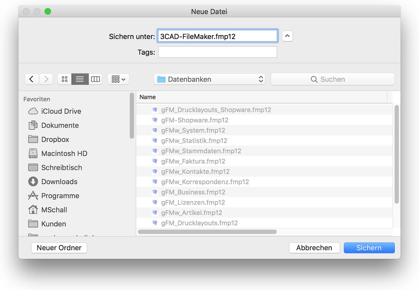 Neue FileMaker-Datenbank erstellen
