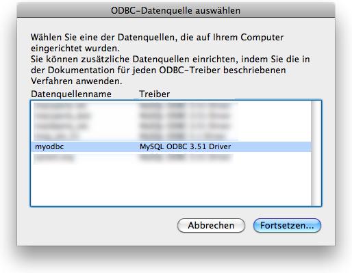 ODBC-Datenquelle auswählen