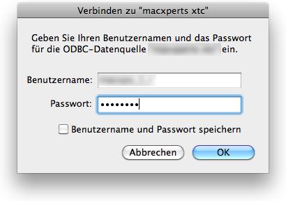 ODBC Passworteingabe