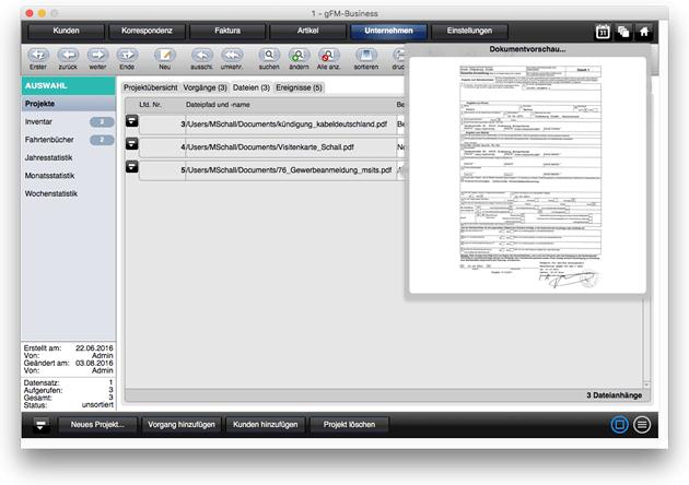 Dateianhänge von Projekten