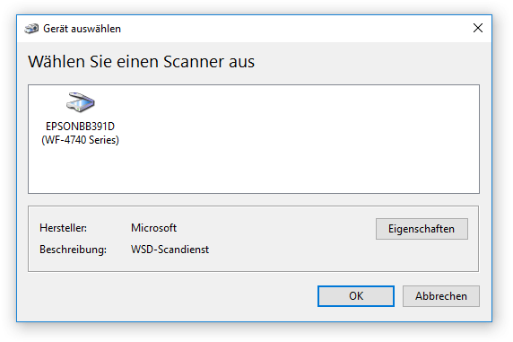 WIA-Scanner auswählen