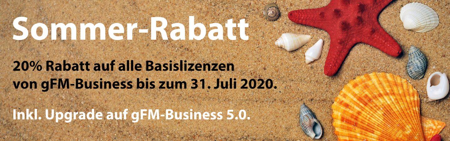 Sommer-Rabatt: 20% Rabatt auf gFM-Business ERP-Software