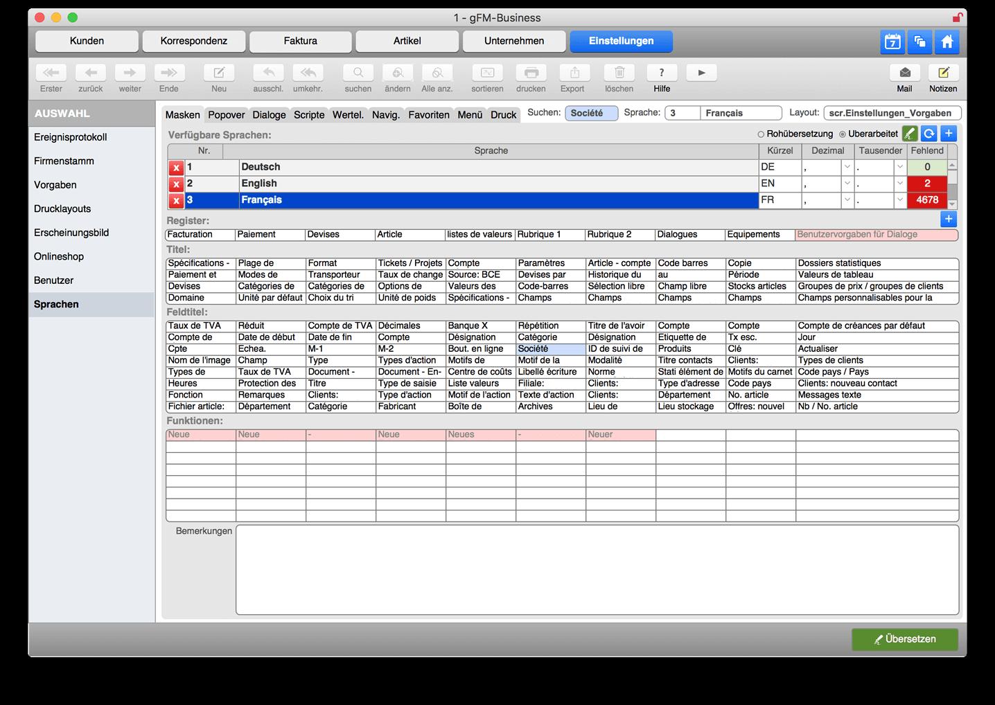 Sprachmodul in der gFM-Business ERP-Software