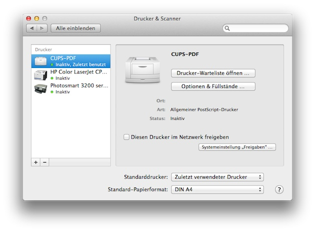 Mac OS X Systemeinstellungen CUPS-PDF