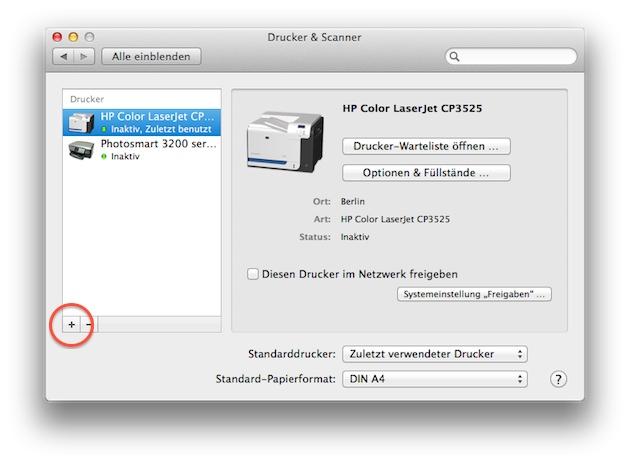 Mac OS X Systemeinstellungen - Drucker