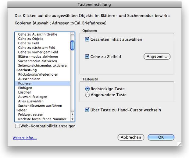 Dialogbox 'Tasteneinstellung' - Funktion 'Kopieren'