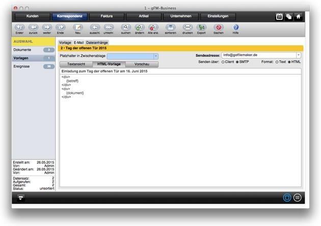 Korrespondenz: E-Mail mit HTML-Vorlage
