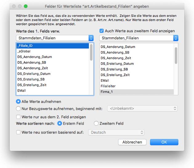 Definition dynamischer Wertelisten in FileMaker