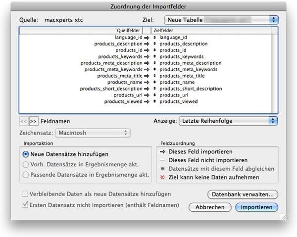 Zuordnung der Importfelder in FileMaker