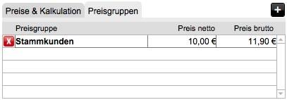 Artikelverwaltung: Preisgruppen