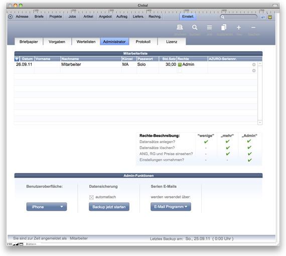 Einstellungen, Benutzer und Protokoll in AZURO Office