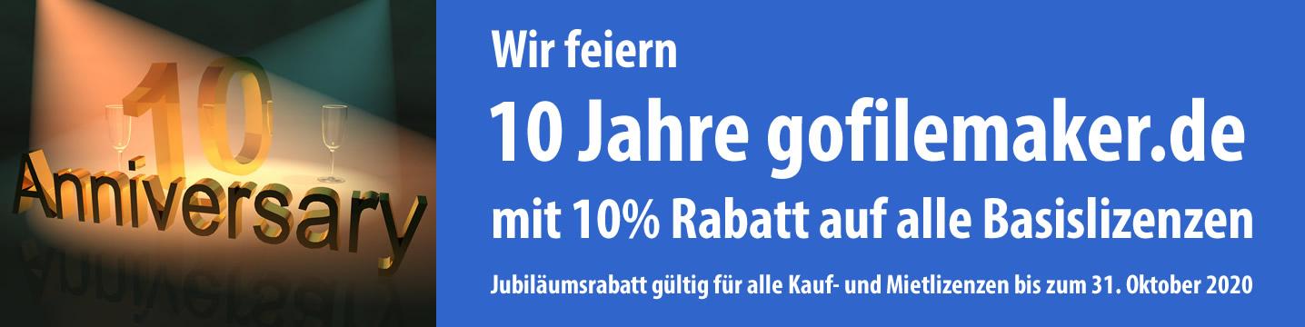 Wir feiern 10 Jahre gofilemaker.de mit Jubiläumsrabatt