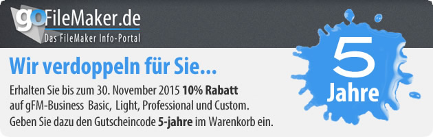 5 Jahre goFileMaker.de: 10 Prozent Rabatt auf gFM-Business